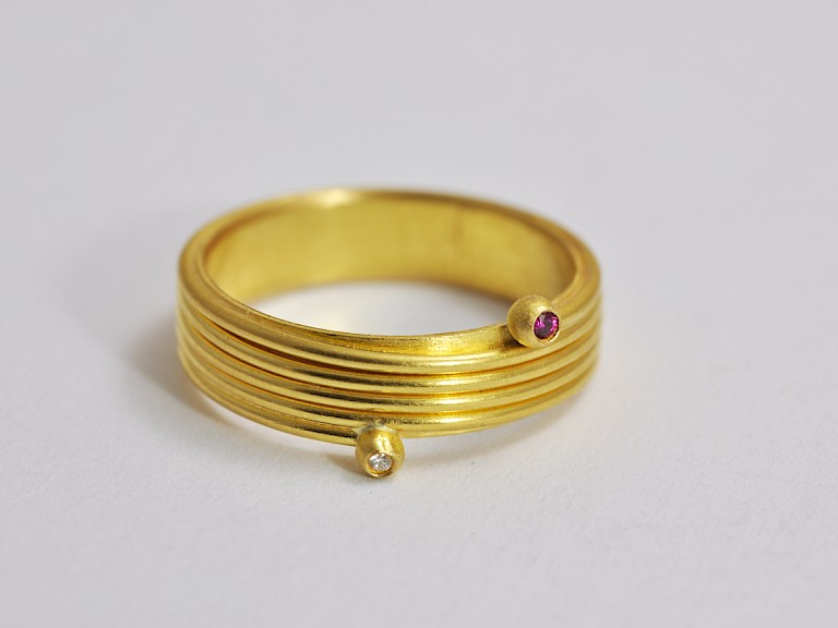 Ring, Gold 900, Diamant, Rubin