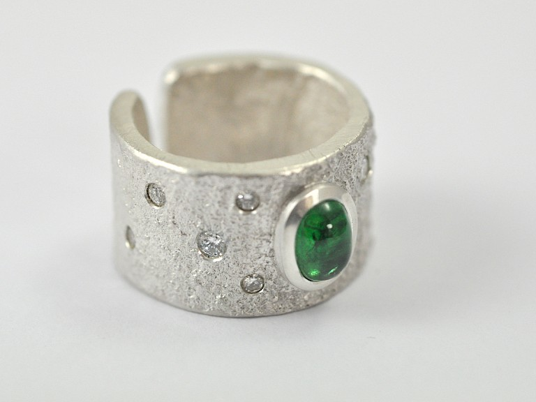 Ring, Silber 925, Turmalin, Diamanten